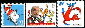 Dr Seuss Complete Set 3 MNH Stamps Cat In The Hat Fox In Socks # 3187h 3835 3989