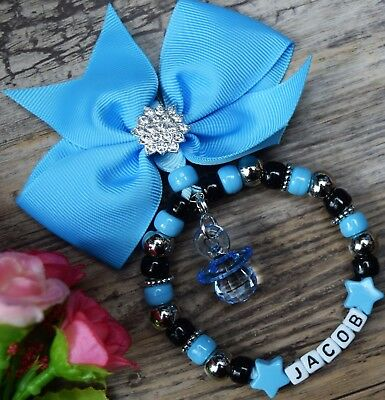 Personalised pram charm with Royal Blue Shiny bow and crystal Crown