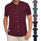 Mens NEXT Brand Casual Short Sleeve Check Print Cotton Work Flannel Shirt M-XXL