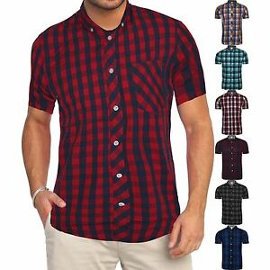 Mens Ex Store Brand Casual Short Sleeve Check Print Cotton Work