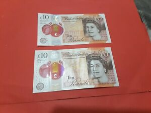 2  x  Cleland/John  polymer DJ24 overlap £10 notes, vf+/aef ,,