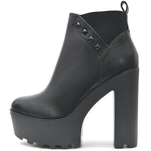 Plataforma-zapatos-senora-negros-tacon-tacon-alto-botines-botines