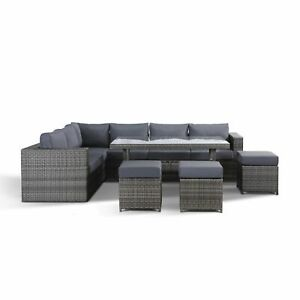 Sensational Details About Layla Grey Rattan Garden Furniture Corner Sofa With Dining Table And 3 Stools Cjindustries Chair Design For Home Cjindustriesco