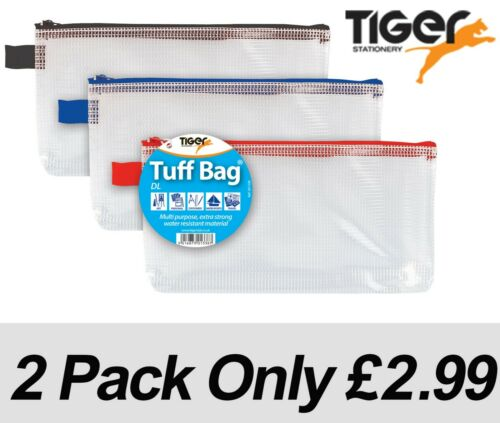 PACK OF 2 DL 23 x 11cm Tuff Bag Heavy Duty Strong Wallet Document Storage