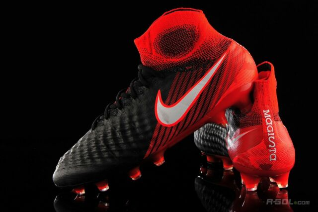 Nike Magista Obra II FG ACC Soccer Cleats Black Red Men s Size 8.5 ... 9cc724980