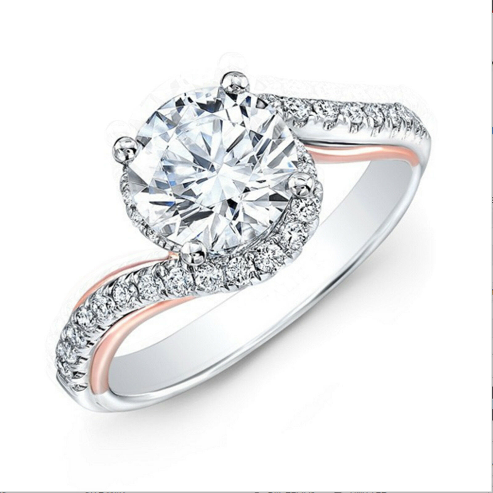 0.90 Ct Real Diamond Engagement Ring Round Cut 14K White gold Size 7