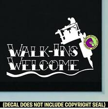Tattoo Walk Ins Welcome 2 Vinyl Decal Sticker Shop Ink Machine Window Door Sign