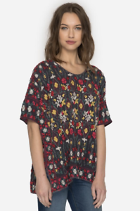 JOHNNY-WAS-Embroidered-SIYBLL-BLOUSE-Shorter-Sleeve-Floral-Tunic-L-258