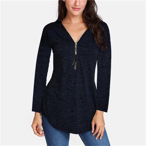 Damen Langarm Bluse T-Shirt Reißverschluss V-Ausschnitt Tops Bluse Oberteil