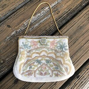 Vtg-Cream-Floral-Beaded-Purse-Evening-Bag-Clutch-Pink-Blue-Green-France-50s-60s