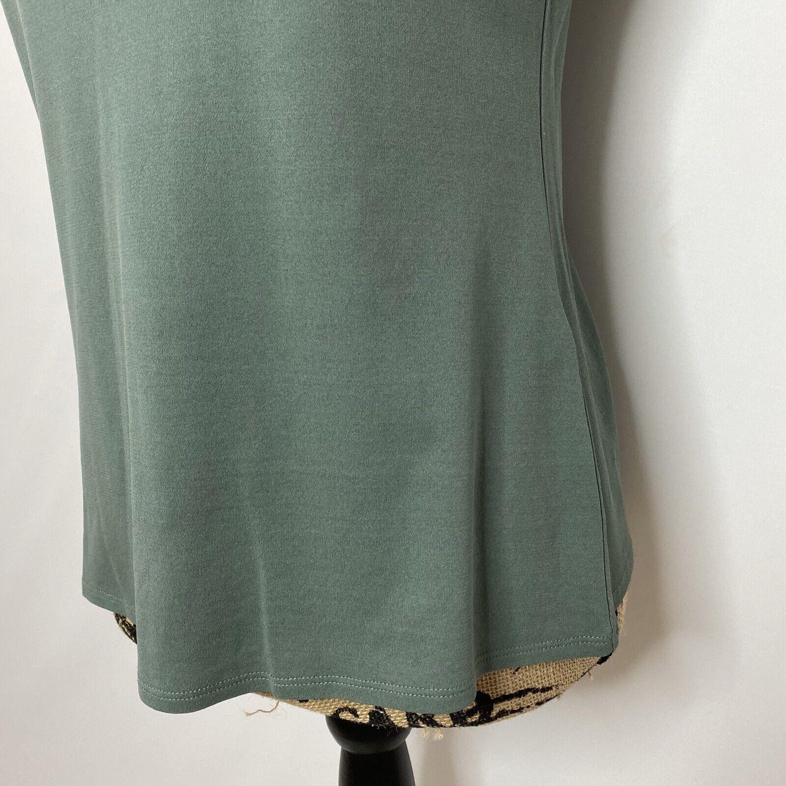 Eileen Fisher Silk Top XS Green Short Sleeve Shirt - image 3