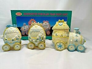 Porcelain-Easter-Bunny-Train-Lighted-Hand-painted-Yellow-Blue-White-6-039-Light-Cord