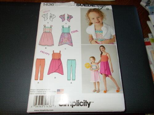 Simplicity Pattern 1436 Girls   Bolero~Dress w//Knit Bodice /& Capri Leggings