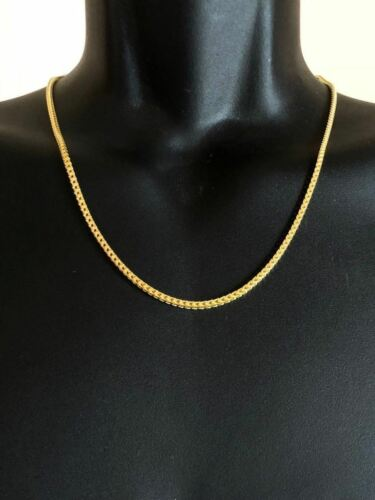Men/'s Franco Chain Real 14K Gold Over Solid 925 Sterling Silver 2mm ITALY MADE