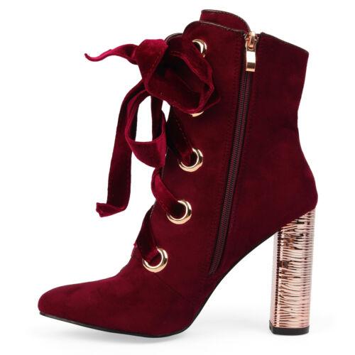 New UK Women/'s Block Heel Zip Faux Suede Ankle Hi Top Lace Up  Boots Shoes UK3-8