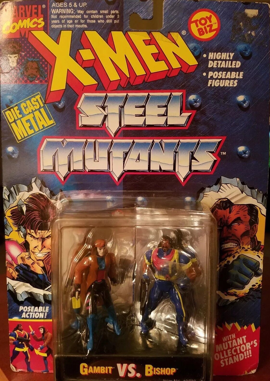 TAS040759-1994 Toy Biz Marvel X-men Steel Mutants DIE-CAST Gambit vs Bishop