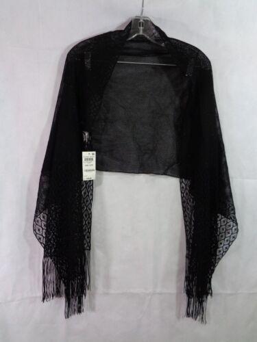 Style /& Co Women/'s Black Metallic Crochet Fringe Evening Wrap Scarf OS NWT