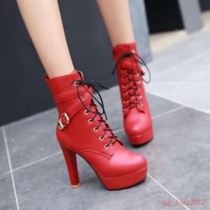 Women-039-s-Platform-Ankle-Boots-Round-Toe-Stilettos-High-Heels-Buckle-Lace-Up-Shoes