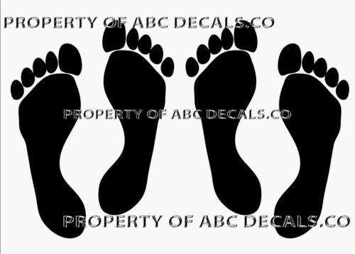 VRS Footprint Foot Print Stick People 2 Pair Daughter Mom Dad Son Vinyl Decal