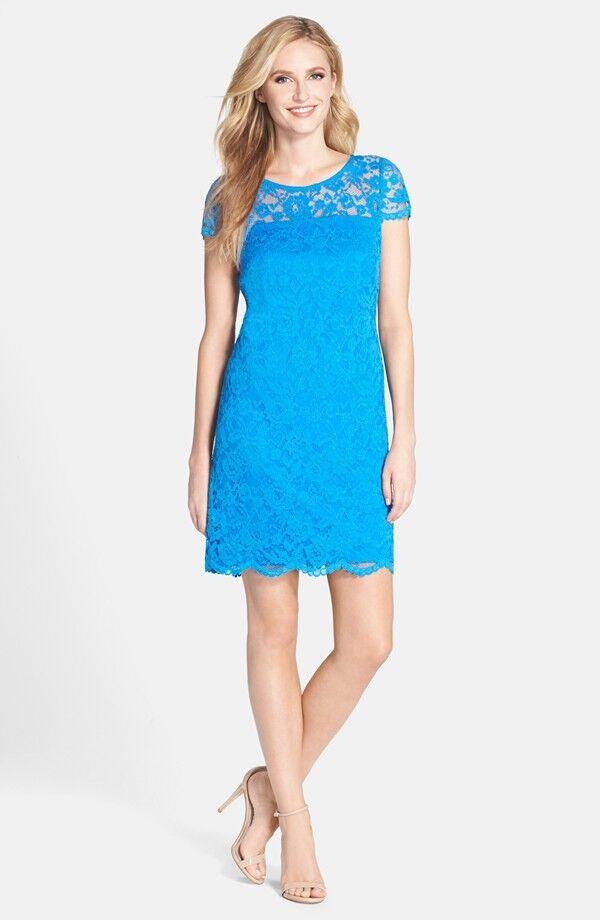 women Ricco Illusion Yoke Scalloped Scalloped Scalloped Lace Shift Dress  ( Size 2 ) 285d16