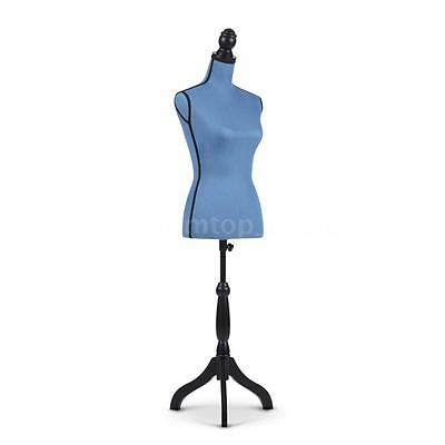 Female Mannequin Torso Dress Form & Height Adjustable Wood Tripod Stand Blue