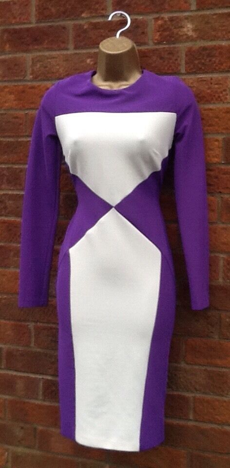 Ex Julien MacDonald Purple Ivory Illusion Pencil Wiggle Dress 10