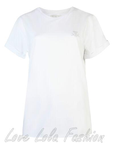 Femme t shirts tops boyfriend femmes turn up manches courtes danse gym tee 8-16