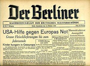 La Berliner Du 13. Octobre 1945: Usa-aide Contre L'europe Not-afficher Le Titre D'origine Avec Des MéThodes Traditionnelles