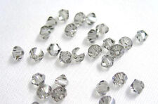 48 BLACK DIAMOND SWAROVSKI # 5301 BICONE BEADS 4MM