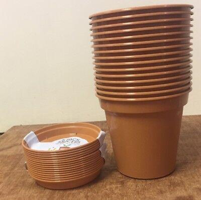 15 x 6 pouces Plastic Terracotta plant pot and 15x Terracotta Saucers 15 cm