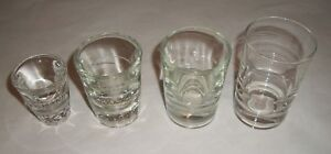 4 Vintage Misc. BAR GLASSES  -- Heavy Glass Bar Ware -- Shot, Etc