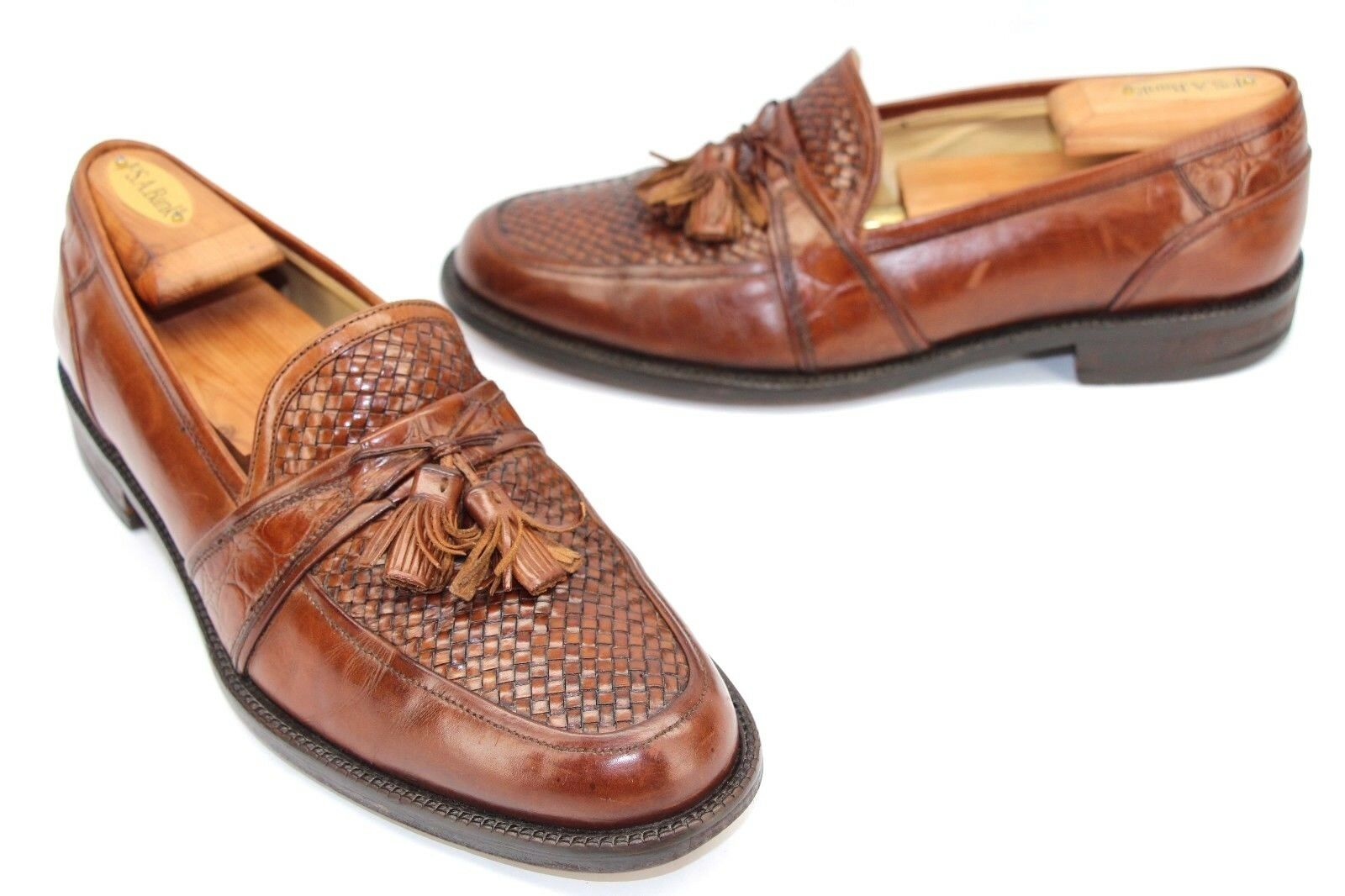 Johnston & Murphy Brown Pelle Woven Vamp Tassel Loafers Size 9 M Made In Italy