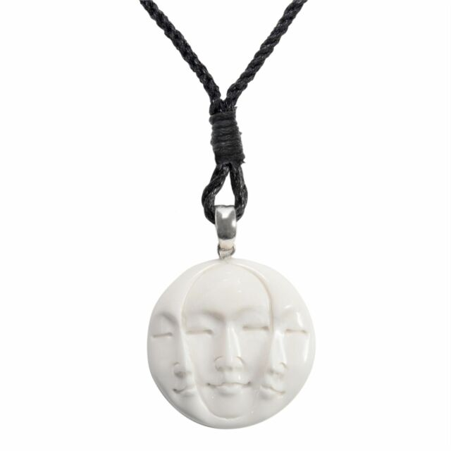 81stgeneration Hand Carved Bone Three Face Triple Moon Pendant Necklace For Sale Online