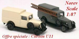 Set-de-2-Citroen-U11-fourgonnette-de-1935-NOREV-Echelle-1-87-Ho