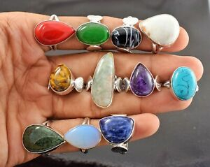 10 Pcs Sodalite Cat's Eye Tiger Eye Coral Mix 925 Sterling Silver Rings RB-40