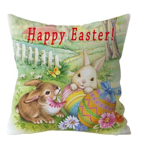 "18/"" Spring Easter Bunny Egg Pillow Case Throw Cushion Cover Home Sofa Decoration"