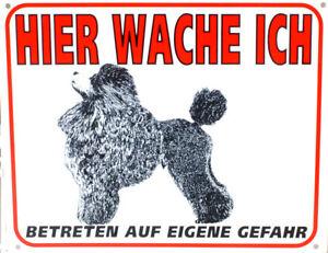 Warnschild-Pudel-stehend-25-x-20-cm-Wetterfest-Hundewarnschild-Hundeschild