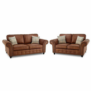 Details About Oakland New Extra Large 3 2 Leather Sofa Tan Faux Suite Brown