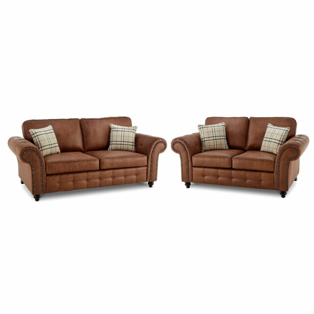 Oakland New Extra Large 3 2 Leather Sofa Tan Faux Suite Brown