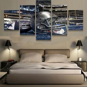 Dallas-Cowboys-Helmet-AT-amp-T-Stadium-5-pcs-Painting-Canvas-Wall-Art-Home-Decor