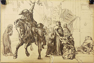 Frank-William-Warwick-TOPHAM-1838-1924-Dibujo-original-Londres-De-inglaterra