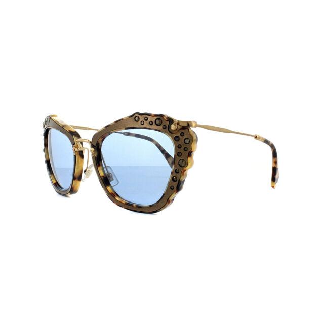 912ab5c0dfc3 MIU MIU Mu 04qs Dhf- 0a2 Light Havana Embellished Cat Eye Sunglasses ...