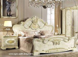 Barock Hochglanz Schlafzimmer Bett 180x200 2xNachttisch Art ...