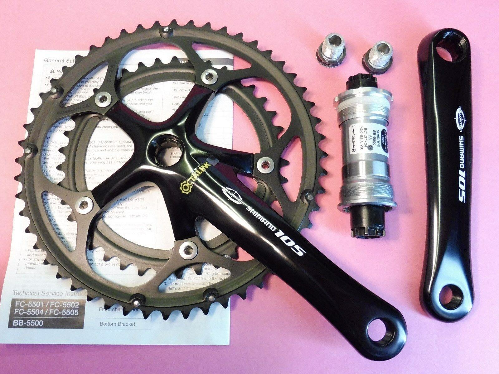 7f8edf28389 Shimano - 5502 9 105 bicycle 170 mm - 39.52 5500 68 - 109 NOS chainset  nndrst2848-Chainsets & Cranks