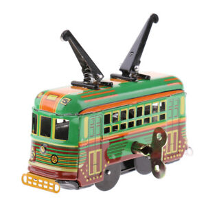 Retro-Wind-Up-Tram-Trolley-Model-Automotive-Tin-Toy-Clockwork-Collectible