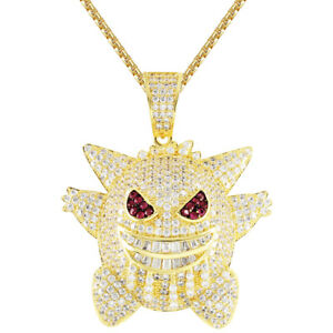 48bc7cfa21d23 Details about Cartoon Character Baguette Men's Iced Out Custom Gold Finish  Pendant Free Chain