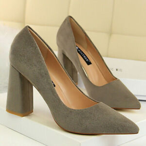 Women's Pointed Toe Chunky High Heel Party Dress Ladies Club Wedding Pumps Shoes
