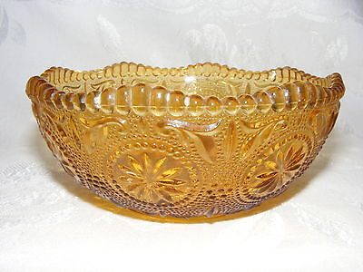 Vintage Brockway Glass Co Amber Gold Cereal Bowl Concord Pattern
