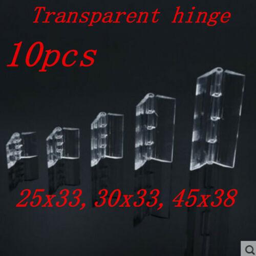 10x charnières pliantes en plastique acrylique transparent durable charnière
