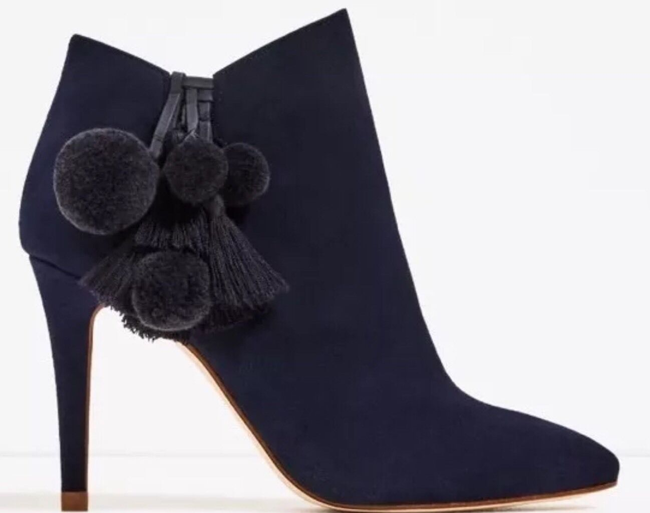 Rare_NWT 139 ZARA AW16 LEATHER HIGH HEEL ANKLE BOOTS WITH POMPOMS Blau 2105/201